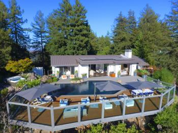 Mt. Tamalpais executive residence exterior view, pool and landscape